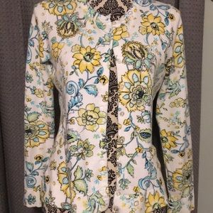 Blue and yellow floral button down cardigan
